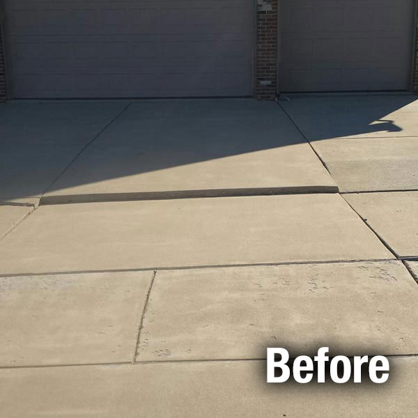 Akron/Canton Concrete Driveway Leveling - Before