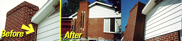 Leaning brick chimney repair, Akron/Canton Ohio